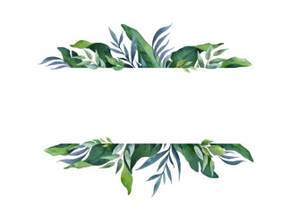 Watercolor vector green banner tropical leaves and branches isolated on white background.