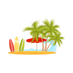 Blue ocean wave and sandy beach with palm trees, umbrella and surfing boards. Vacation on Bali. Flat vector design