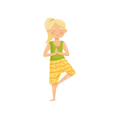 Cute blond girl meditating, standing on one leg. Young woman doing yoga exercise. Flat vector illustration