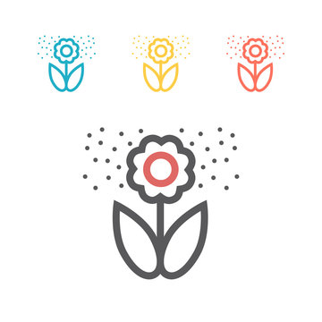Flower pollen line icon. Vector icon for web graphic.