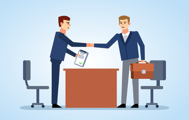 Two businessman shaking hands. Successful business deal, contract, job interview. Flat design vector illustration