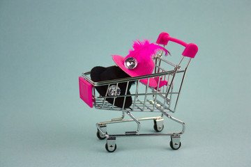 shopping cart with pink and black hats