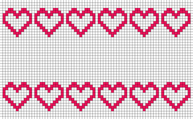 Patchwork or cross stitch pattern with six hearts in a row top and bottom with copy space and white background, seamless design of symmetrically placed hearts, pixel-like banner or backdrop decoration