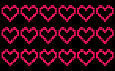 Black background with repeating pixel-like hearts, patchwork or cross stitch pattern, seamless motif or graphic resource as abstract background, textile print, wallpaper and geometric inspiration