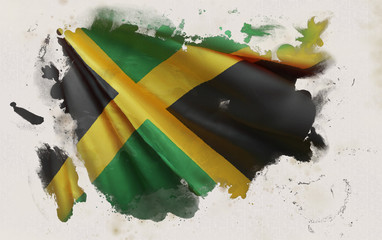 Jamaican Flag, Jamaica National Colors Background  <<3D Rendering>>