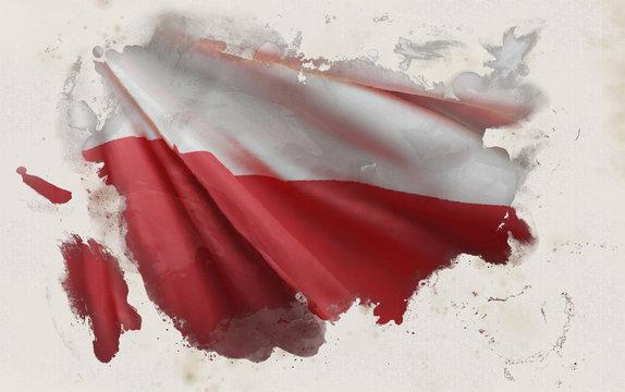 Polish Flag, Poland National Colors Background  <<3D Rendering>>