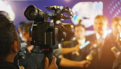 cameraman recording. videotaping microphone journalist journalist interviewing. live streaming concept.