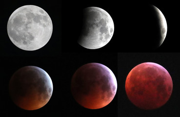 "A combination photo shows the moon during a total lunar eclipse, known as the ""Super Blood Wolf Moon"", in Brussels"
