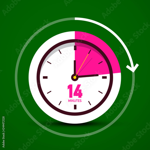 Fourteen 14 Minutes Vector Analog Stopwatch Clock Icon  Time