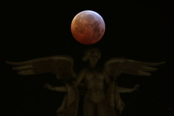 """The """"Super Blood Wolf Moon"""" is seen in Madrid"""