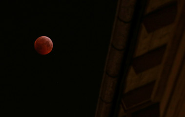 """The """"super blood wolf moon"""" is seen during a total lunar eclipse in Stockholm"""