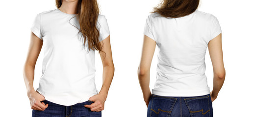 A girl in an empty white t-shirt. Front and back view. Close up. Isolated on white background.