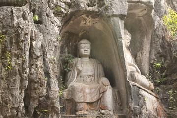 Papiers peints Xian Ancient stone statue of Buddha, Xian, Shaanxi province, China