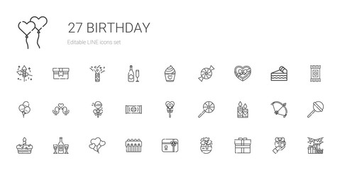 birthday icons set