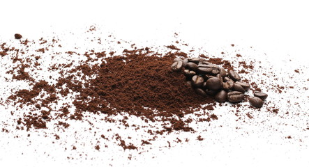 Milled coffee powder with beans isolated on white background
