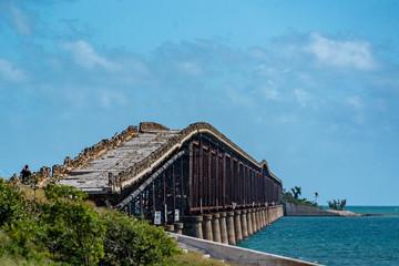 damaged bridge in key west island florida highway