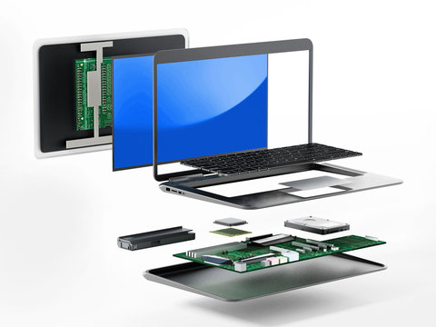 Structure of laptop computer showing spare parts. 3D illustration