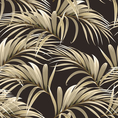 Poster Artificiel seamless pattern with golden palm leaves on a dark background