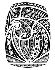 Sleeve tattoo in polynesian ethnic style