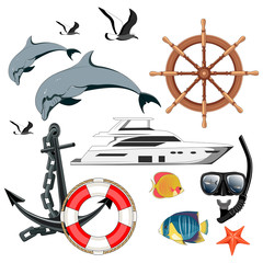 Set of vector images yacht, lifebuoy, ship steering wheel, dolphins, seagulls, fishes, diving mask and snorkel, sharks, starfish, anchor.