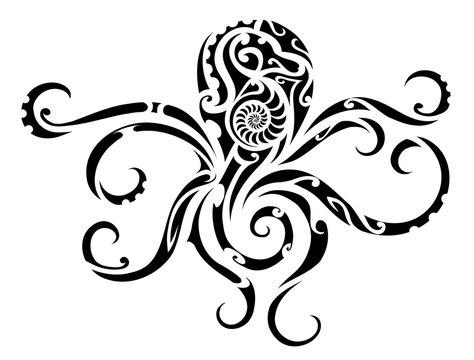 Octopus tribal tattoo