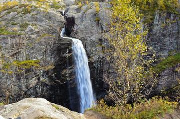 Manafossen, Norway Beautiful northern waterfall. Norwegian mountains in autumn. Rogaland, Norway