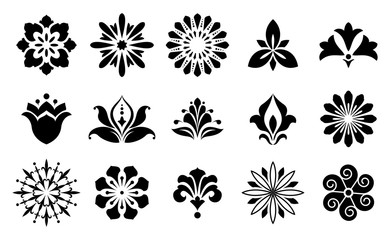Collection of different stylistic flowers in black and white .Vector graphic.