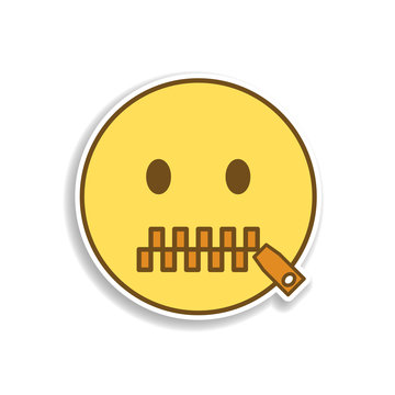 mouth to lock colored emoji sticker icon. Element of emoji for mobile concept and web apps illustration.