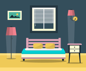 Hotel Room - Interior with Bed, Furniture and Window. Flat Design Bedroom Vector Illustration.