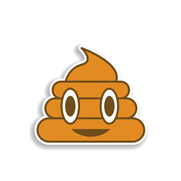 a lot of shit colored emoji sticker icon. Element of emoji for mobile concept and web apps illustration.