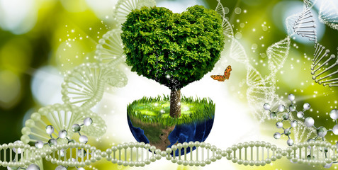 image of planet and the tree on genetic code background