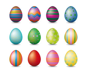Twelve colorful shiny easter eggs with various patterns