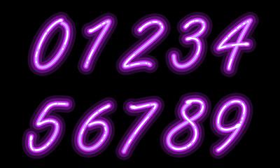 Neon alphabet font in purple numbers
