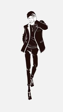 Stylish handsome man in fashion clothes. Fashion man. Hand drawn male model. Sketch. Handsome stylish man showcasing street fashion