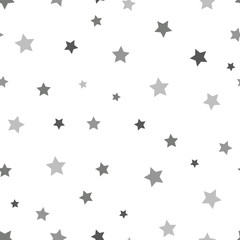 Star seamless pattern. White and grey retro background. Chaotic elements. Abstract geometric shape texture. Effect of sky. Design template for wallpaper,wrapping, textile. Vector Illustration.