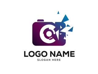 Pixel Photo Logo Design Concept Vector, Photography Logo Designs Template Vector