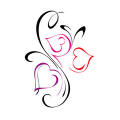 three stylized pink hearts with curls on white background