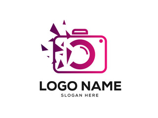 Pixel Photo Logo Design Concept Vector, Photography Logo Designs Template Vector