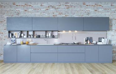 3d rendering of new loft interior kitchen