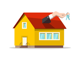 Buing or Selling House Concept. Vector Real Estate Reality Design with Keys in Hand and Family House Symbol.
