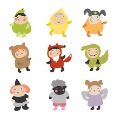 Cute Kids Character. Vector illustration set of kids. Character with different party costume style.
