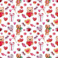 Watercolor Valentine's day Seamless pattern