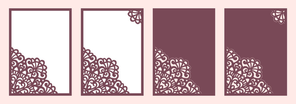 Wedding invitation 5x7 Slide-in Card template for cutting, laser cut.