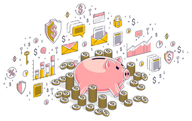 Piggy bank with cash money dollar stacks and coins piles isolated on white, personal savings concept. Isometric 3d vector finance illustration with icons, stats charts and design elements.
