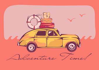 Retro car with a luggage on a top, vector illustration