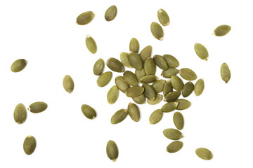Pumpkin seeds isolated on white background, top view