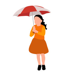 faceless child girl with umbrella