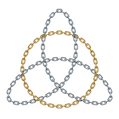 Triquetra with circle made of interwoven golden and silver chains. Celtic trinity symbol. Vector illustration.
