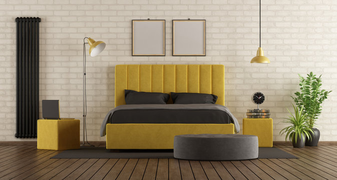 Black and yellow master bedroom