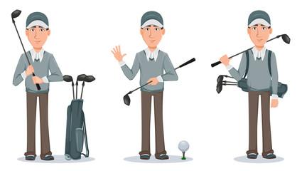 Golf player, handsome golfer. Cartoon character